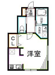 JR総武線 西荻窪駅 徒歩15分の賃貸アパート 1階ワンルームの間取り