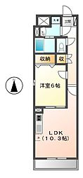 愛知県名古屋市港区港楽1の賃貸マンションの間取り