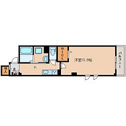JR関西本線 奈良駅 徒歩3分の賃貸マンション 2階1Kの間取り