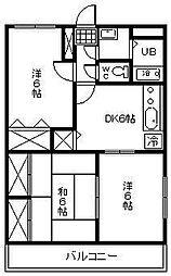 (賃)コンフォート桜[2階]の間取り
