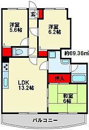 第壱上野マンション[602号室]の間取り