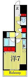 One ROOF Residence Kiba WEST 8階ワンルームの間取り