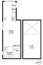 都営大江戸線 新御徒町駅 徒歩5分の賃貸マンション 5階ワンルームの間取り
