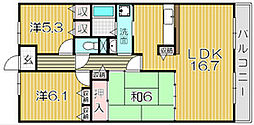 大阪府吹田市岸部南3丁目の賃貸マンションの間取り