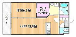 岡山県岡山市北区内山下1丁目の賃貸マンションの間取り