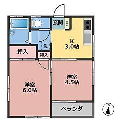 東京都西東京市住吉町5丁目の賃貸アパートの間取り