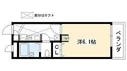兵庫県西宮市甲東園1丁目の賃貸アパートの間取り