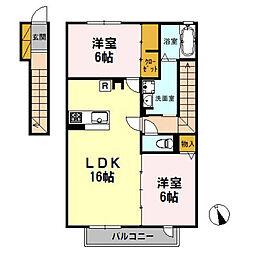 東京都三鷹市北野1丁目の賃貸アパートの間取り