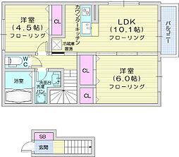 ロワール3 2階2LDKの間取り