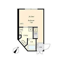 cova HATAGAYA 4階ワンルームの間取り