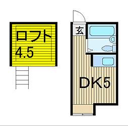 第6コーポ稲垣[204号室]の間取り