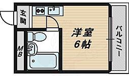 野江2番館 3階ワンルームの間取り