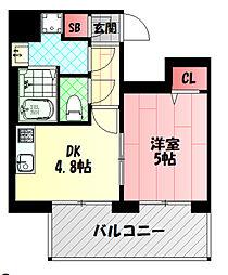 リーガル京阪本通 7階1DKの間取り