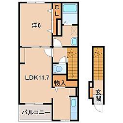 和歌山県和歌山市西の賃貸アパートの間取り