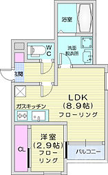 JR仙石線 宮城野原駅 徒歩7分の賃貸アパート 2階1LDKの間取り