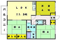 セジュ−ル・メロディ−A[2階]の間取り