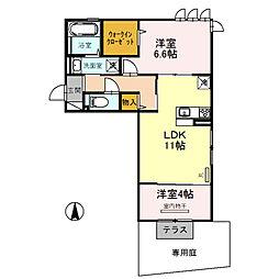 大阪府四條畷市中野本町の賃貸アパートの間取り