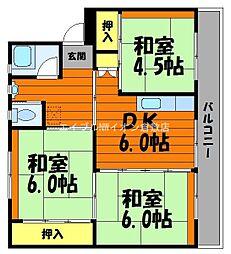 岡山県総社市上原の賃貸マンションの間取り