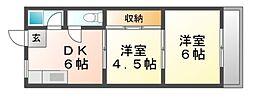 兵庫県尼崎市西長洲町2丁目の賃貸マンションの間取り