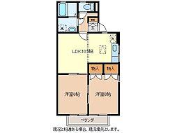 長野県長野市若穂綿内の賃貸アパートの間取り