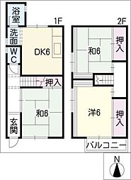 [タウンハウス] 愛知県名古屋市西区宝地町 の賃貸【愛知県 / 名古屋市西区】の間取り