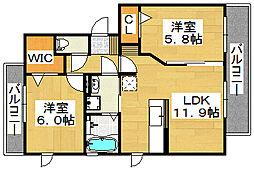 ガーデンコート金岡[2階]の間取り