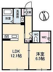 LUNA B棟[B102 号室号室]の間取り