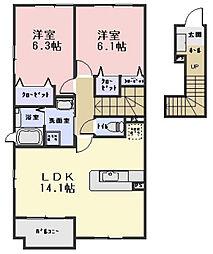 ルシヨンC棟[2階]の間取り