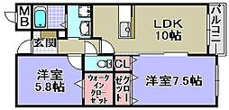 エトワール観音寺[303号室]の間取り
