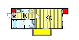 JR総武線 船橋駅 徒歩9分の賃貸アパート 3階1Kの間取り