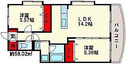 福岡県福岡市南区野多目6丁目の賃貸マンションの間取り