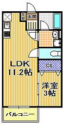 大阪府大阪市此花区梅香3丁目の賃貸アパートの間取り
