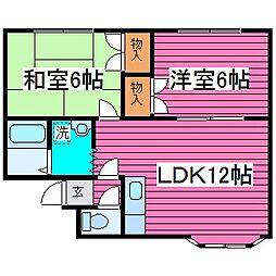 カーメルハウス菊水元町[203号室]の間取り
