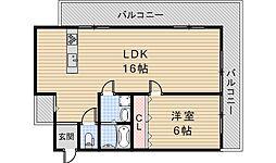 大阪府大阪市阿倍野区文の里1丁目の賃貸マンションの間取り