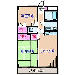 神奈川県横浜市鶴見区駒岡2丁目の賃貸マンションの間取り