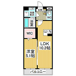 JR篠ノ井線 村井駅 徒歩19分の賃貸マンション 3階1LDKの間取り