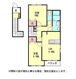 愛知県一宮市三条字郷南東の賃貸アパートの間取り