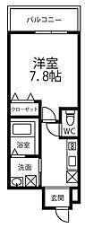 ドリームフジ桜川 3階1Kの間取り