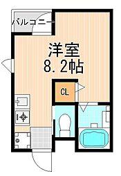 アマックス五反野 5階ワンルームの間取り