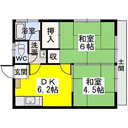 福岡県福岡市東区高美台3丁目の賃貸アパートの間取り