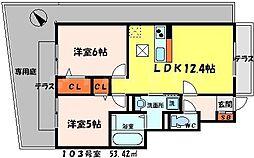 セジュール佐太 1階2LDKの間取り