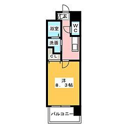 NORITAKE RISE 6階1Kの間取り