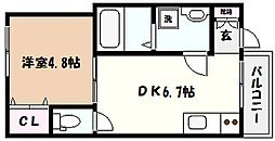 兵庫県神戸市東灘区北青木4丁目の賃貸アパートの間取り