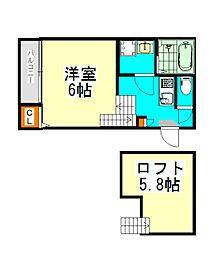 名古屋市営東山線 八田駅 徒歩4分の賃貸アパート 1階1SKの間取り