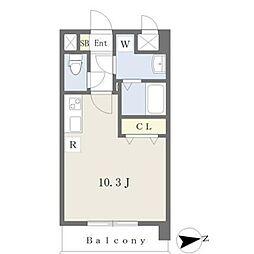 JR鹿児島本線 熊本駅 徒歩19分の賃貸マンション 6階ワンルームの間取り