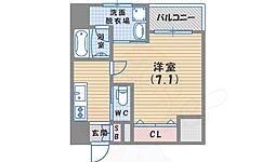 阪神本線 鳴尾・武庫川女子大前駅 徒歩6分の賃貸マンション 6階ワンルームの間取り