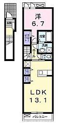 大阪府交野市私市4丁目の賃貸アパートの間取り