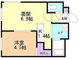 ブルーオーシャンS14W6 4階1LDKの間取り