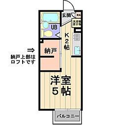 D-ROOM KASUGA 2階1Kの間取り