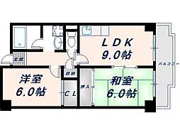 大阪府東大阪市今米1丁目の賃貸マンションの間取り